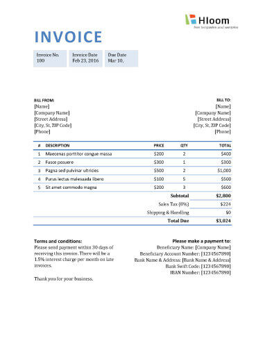 Hsbc Invoice  Blank Invoice Templates In Ms Excel Mdx Toll By Plate Invoice Word with Invoice Sample Form Pdf Blue Boxed Invoice Excel Gst Tax Invoice Sample