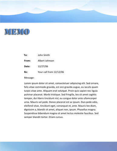 Blue mountain memo template