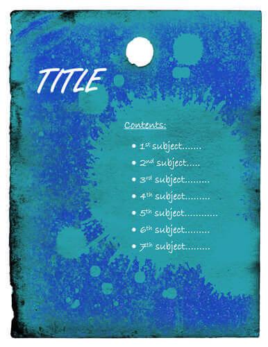 Blue splash cover page