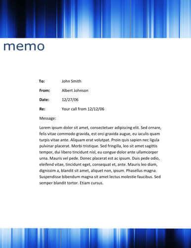 Blue striped header memo