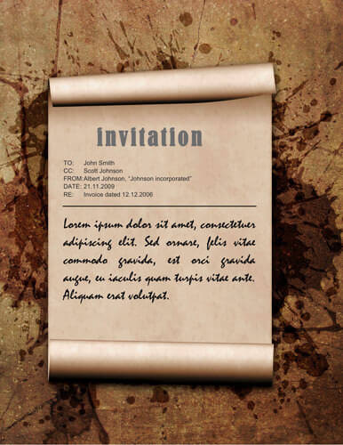 Brown grunge invitation sample