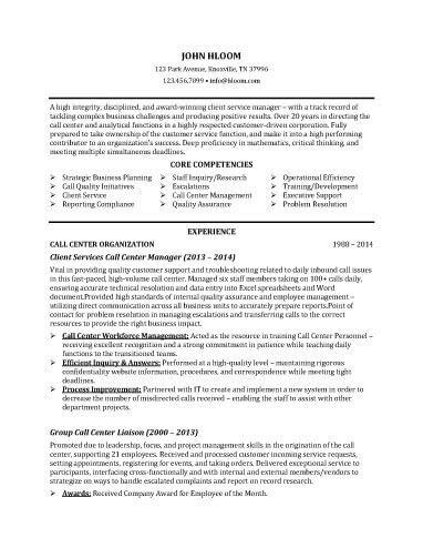 Call Center Supervisor Resume Sample
