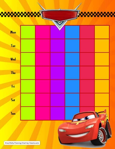 Cars Lightning McQueen Potty Training Chart