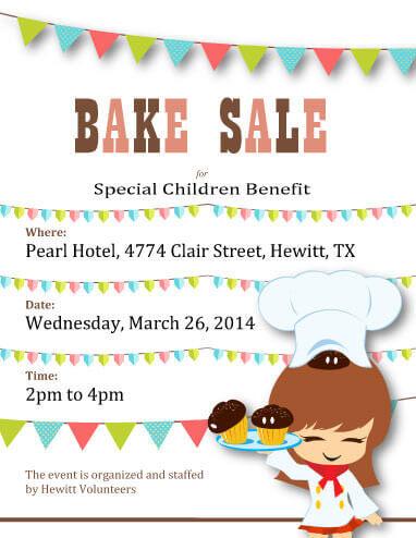 Cartoon Chef Special Children Benefit Bake Sale
