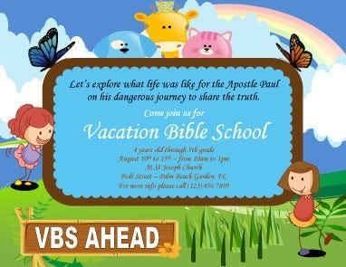 Volantino per scuola biblica estiva in stile cartoon