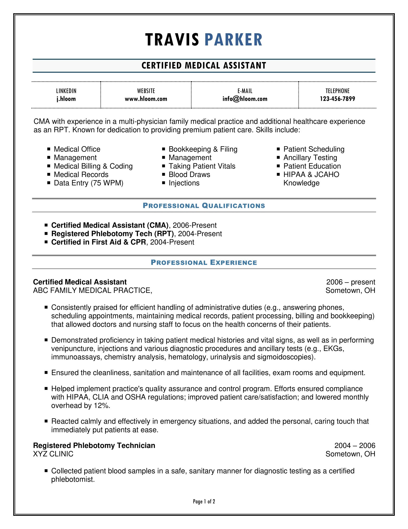 Auxiliar médico certificado