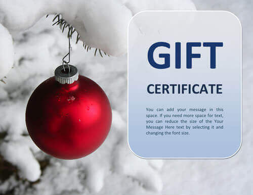 Christmas snow gift certificate