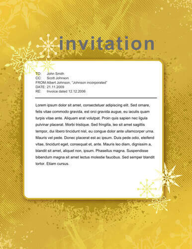 christmas yellow invitation sample