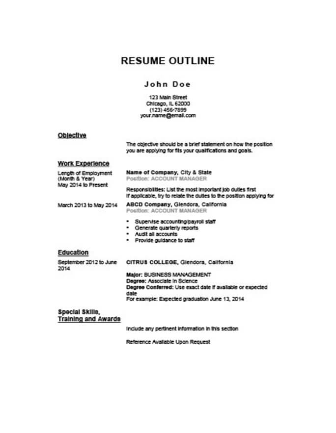 Chronological Outline Resume  Chronological Resume Outline