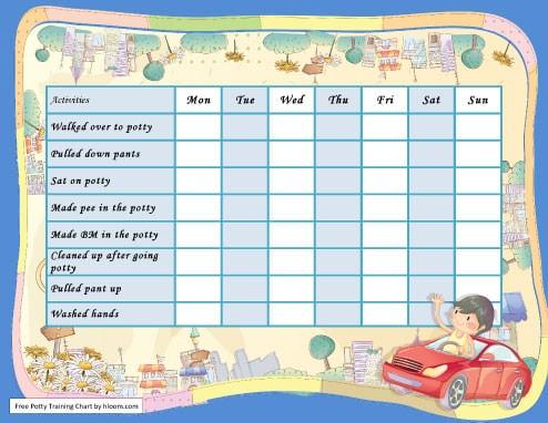 City Boy Potty Training Chart