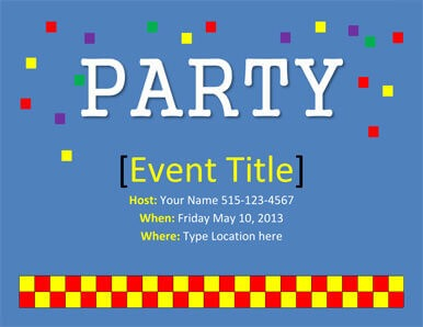 Colorful Squares Party invitation