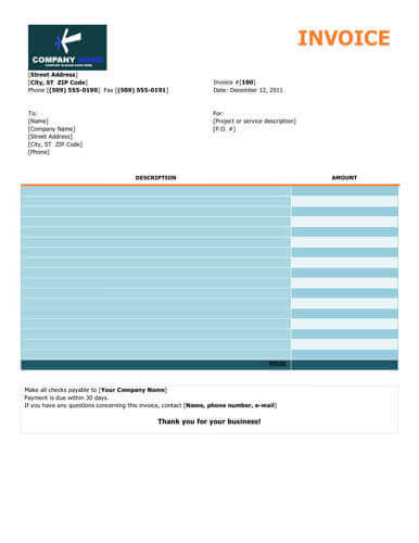 Colorful free invoice