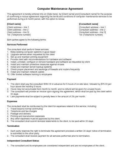 Computer Repair Contract Template Plumbing Contract Template