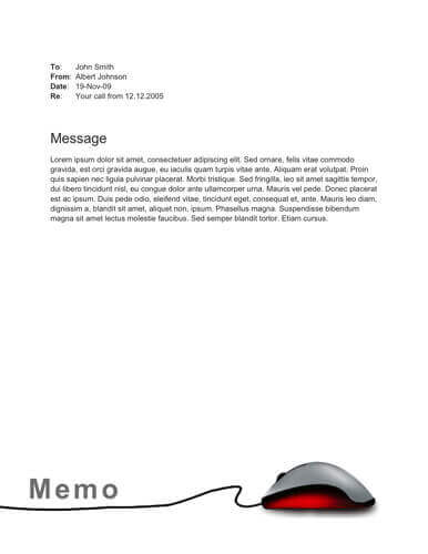 Computer mouse free memo template