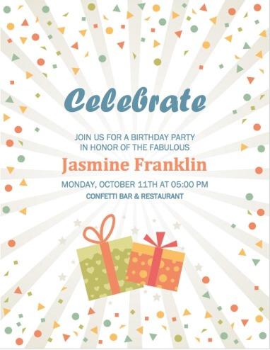 Confetti and Gifts Stripe Party Invitation