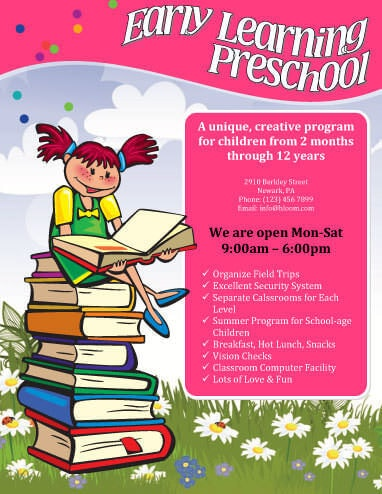 early learning preschool flyer - Daycare Advertising Examples