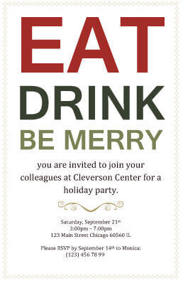 eat drink and be merry invitation template