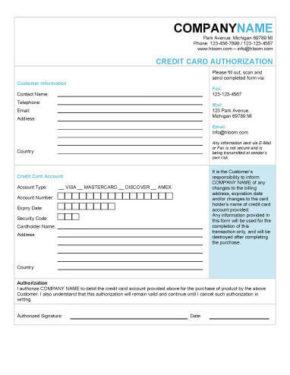 Elegant Charge Authorization Form