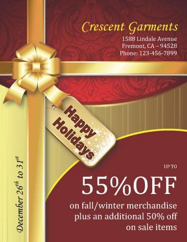 Elegant Gift Wrap Discounts christmas flyer template