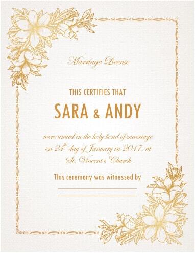 Elegant Marriage License Template