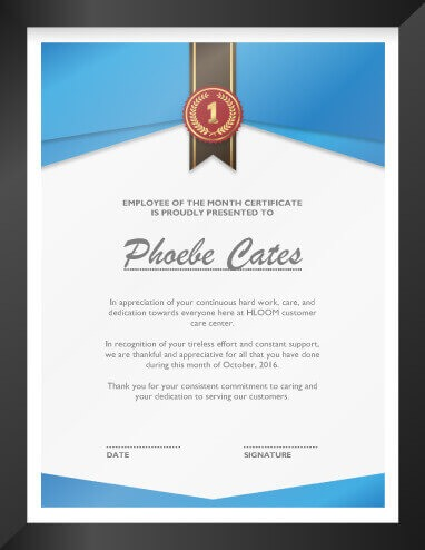 Employee Of The Month Recognition Certificate