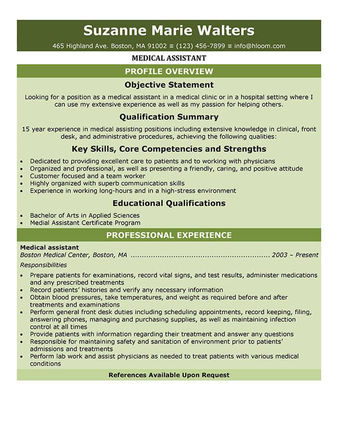 CV de auxiliar médico de nivel inicial