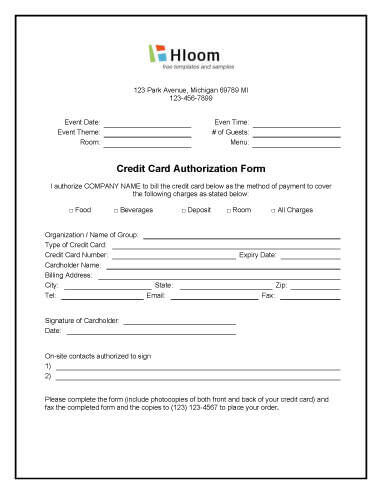 Event Charges Authorization Form