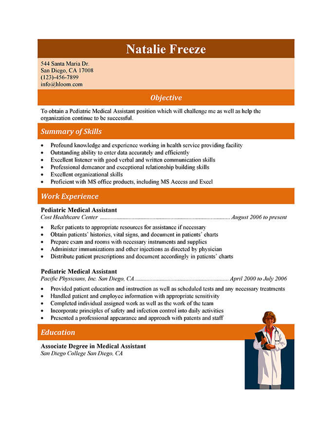 experienced pediatric medical assistant resume. Resume Example. Resume CV Cover Letter