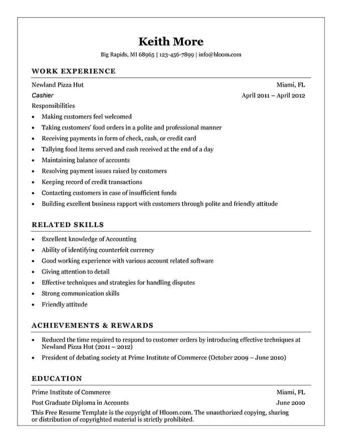fast food cashier description resume cashier job skills fast