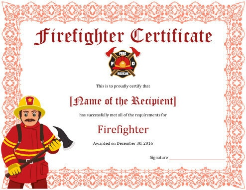 Firefighter Training Certificate Template  Certificate Of Training Template