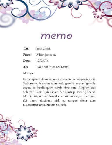 Floral memo template