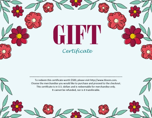 Flowers Gift Certificate