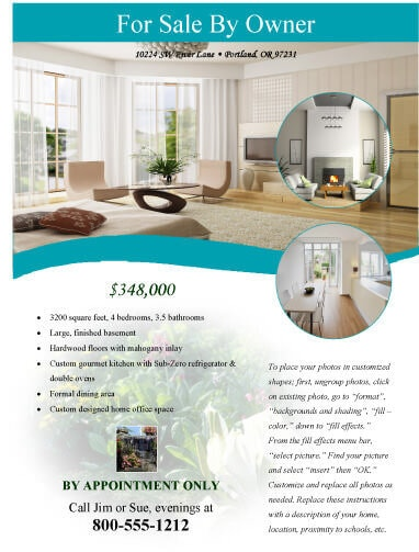 For Sale by owner modern Real Estate Flyer