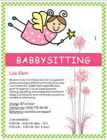 Babysitting flyer sample