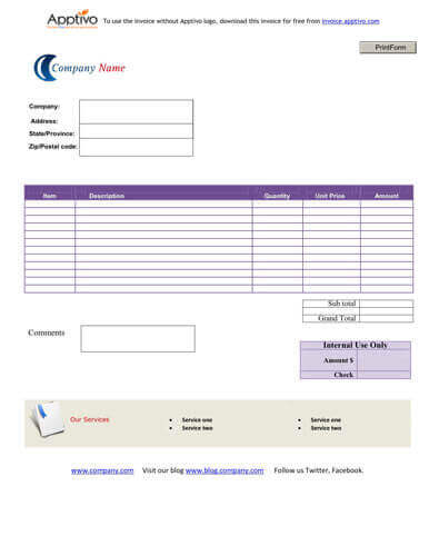 Sales Invoice Templates Examples In Word And Excel - Free download invoice template