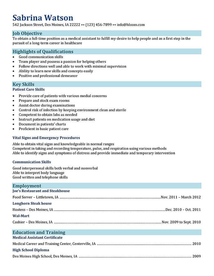 CV funcional para el campo de auxiliares médicos