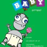 Folleto de cuidado de niños con robot divertido