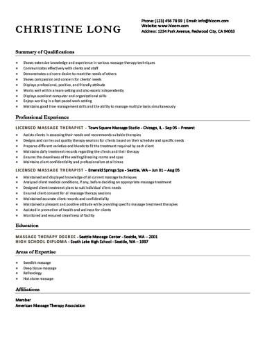 General Licensed Massage Therapist Resume