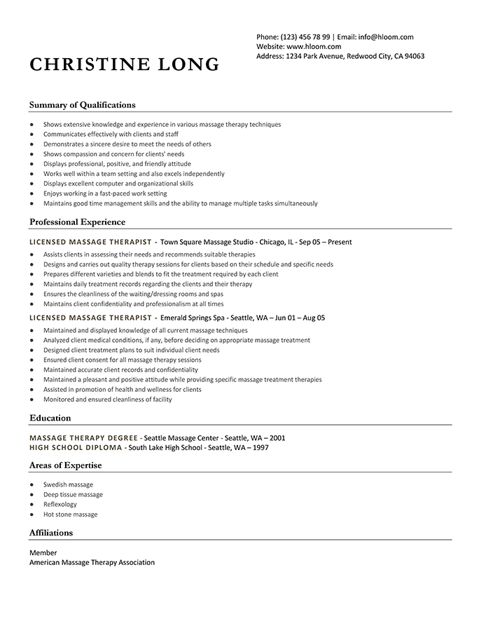 Get The Most Out Of Your Massage Therapist Resume Templates