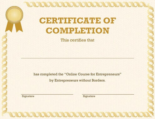 Generic Certificate of Competition