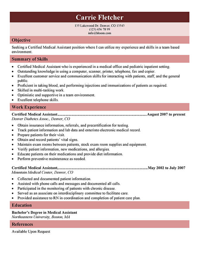 Charmant Generic Certified Medical Assistant Resume
