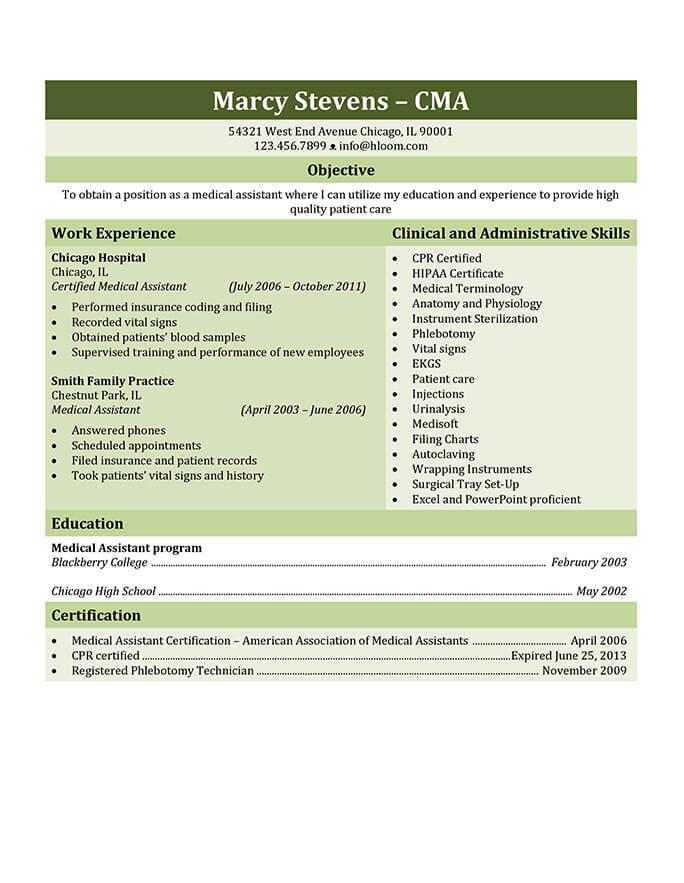 CV genérico mixto de auxiliar médico