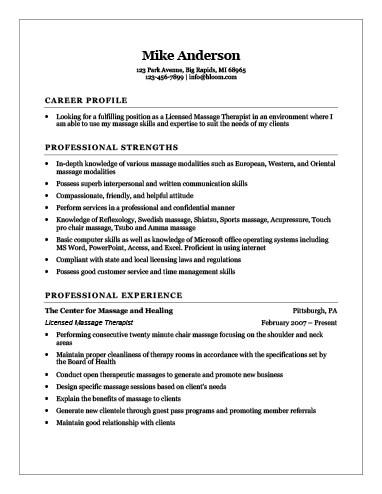Free Massage Therapist Resume Templates