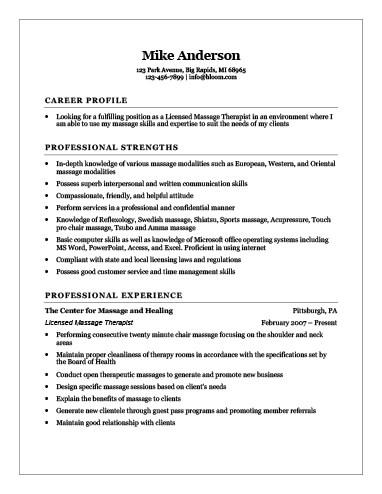 Generic Licensed Massage Therapist Resume