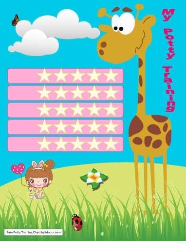 5 weeks 5 days Giraffe Potty Training Chart for Girls