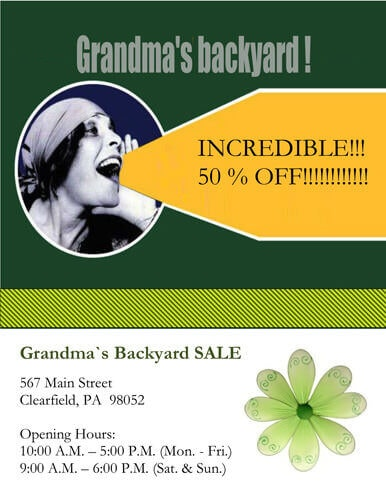 Grandmas Backyard Sale Flyer