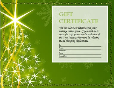 Green Christmas tree gift certificate