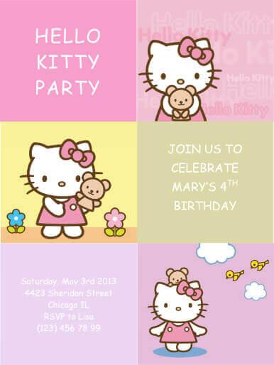 Hello Kitty Kids Party Invitation