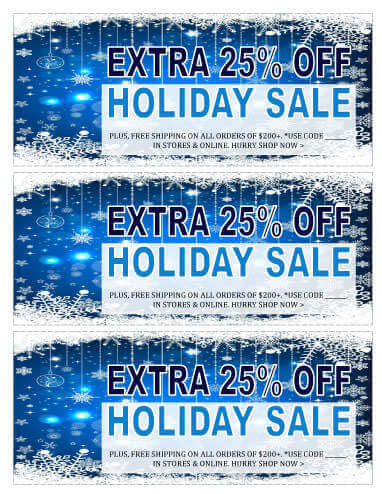 Holiday Sale Blue theme Coupon Template