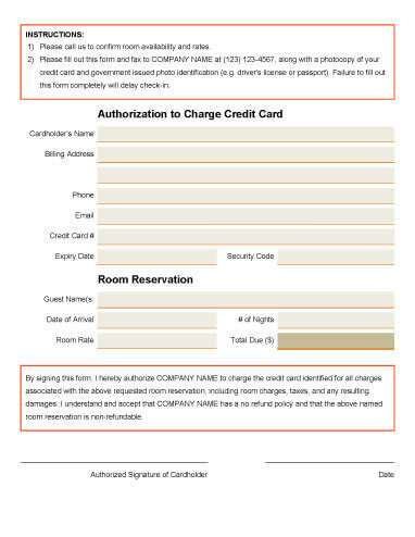 Hotel Reservation Charge Authorization Form